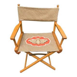 Vintage Needlepoint Directors Chair For Sale