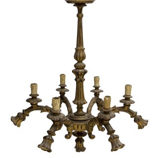 Italian Louis XVI Style Gilt Wood 13-Lt Chandelier For Sale