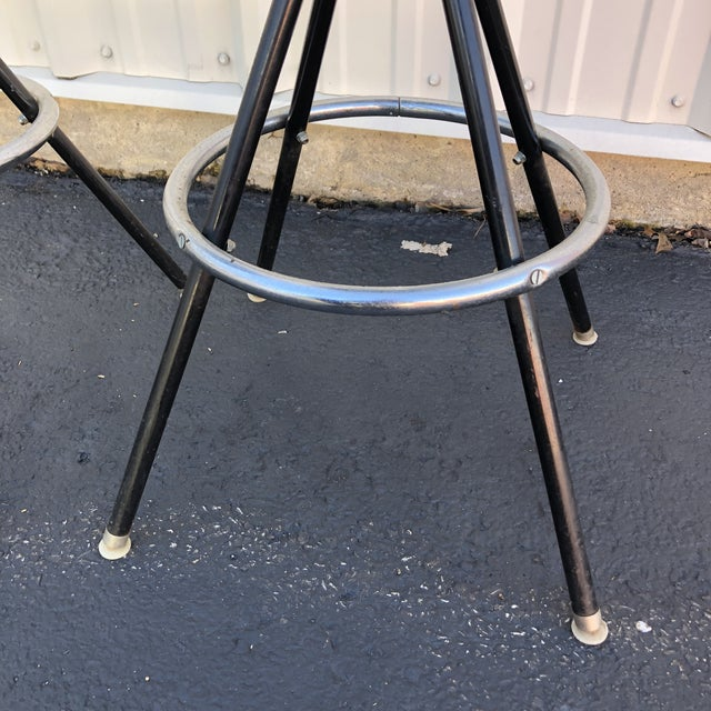 Black Mid-Century Modern Swivel Bar Stools- A Pair For Sale - Image 8 of 11