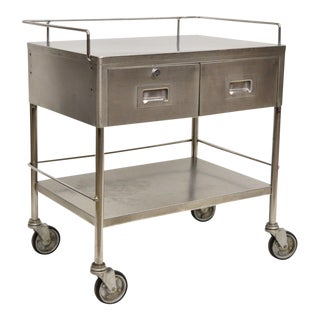 Mid Century Vintage Stainless Steel 2 Drawer Medical Kitchen Industrial Cart Bar Trolley For Sale