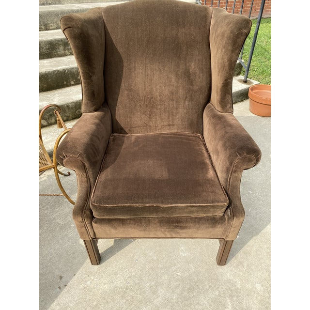 Brown Ethan Allen Chocolate Brown Velvet Wingback Chairs- a Pair For Sale - Image 8 of 13