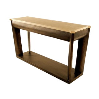 Contemporary Kreiss Travertine Top Console For Sale