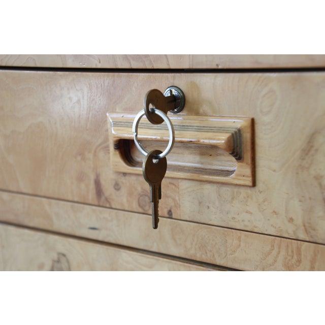 Burl Wood Long Credenza or Bar Cabinet by Henredon For Sale - Image 12 of 13
