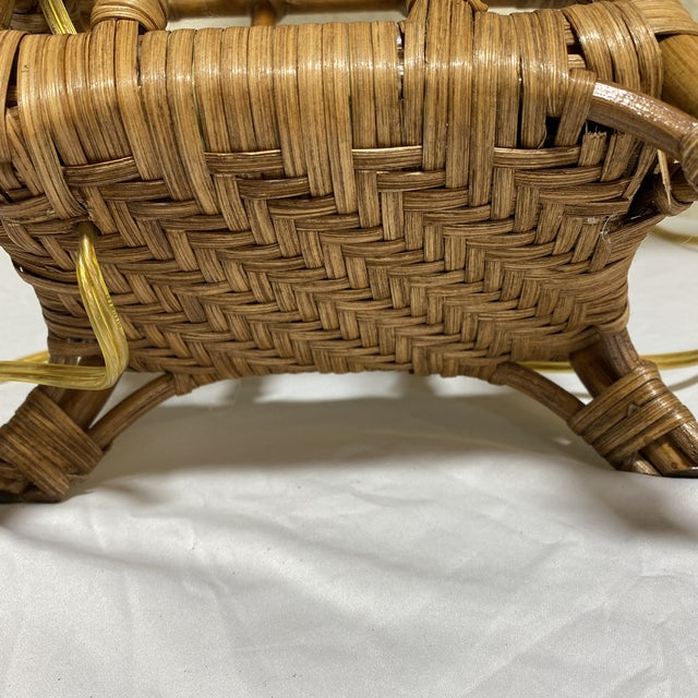 Asian Style Wicker Lamps - Pair For Sale - Image 12 of 13
