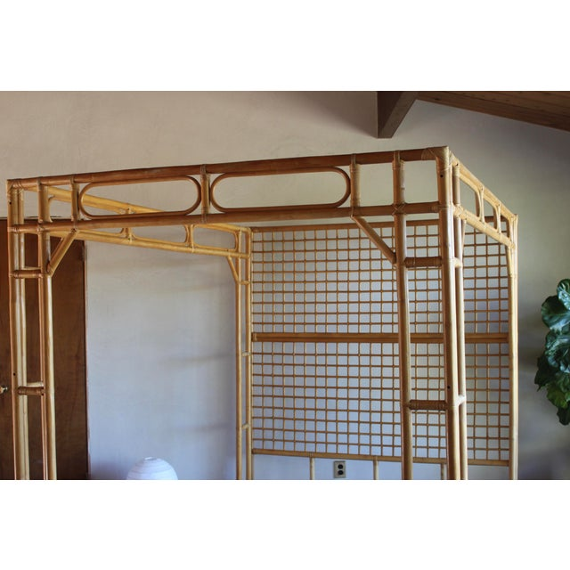 Vintage Queen Rattan and Bamboo Chippendale Chinoiserie Canopy Bed - Image 4 of 11