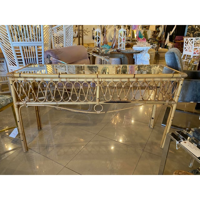 Vintage Tropical Palm Beach Rattan Glass Top Console Sofa Table For Sale - Image 12 of 12