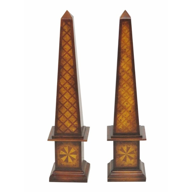 Maitland Smith Inlaid Obelisks - A Pair - Image 1 of 4