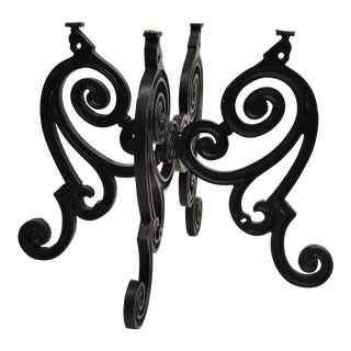 """Cast Iron French Pastry Style Scrolling """"Butterfly"""" Dining Table Pedestal Base For Sale"""