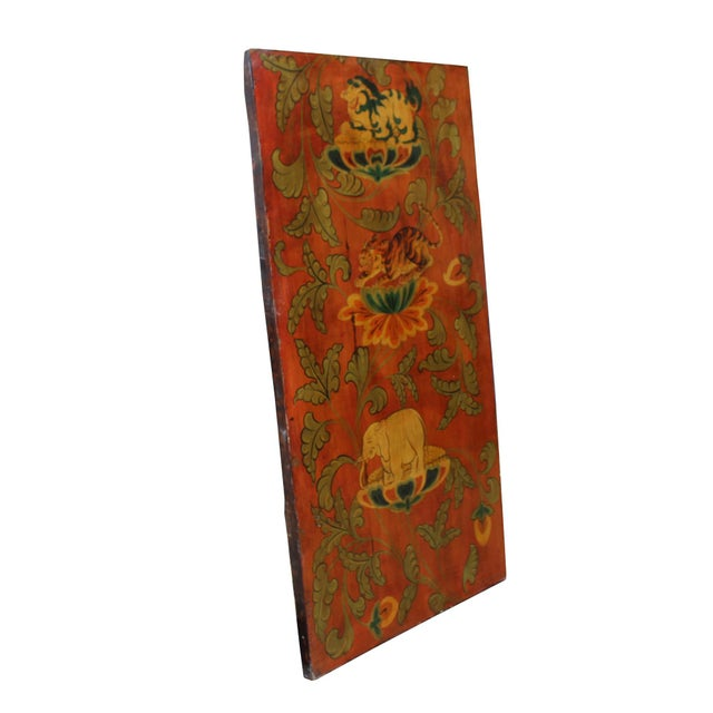 Chinese Chinese Tibetan Vintage Elephant Tiger Animal Graphic Wood Wall Panel For Sale - Image 3 of 9