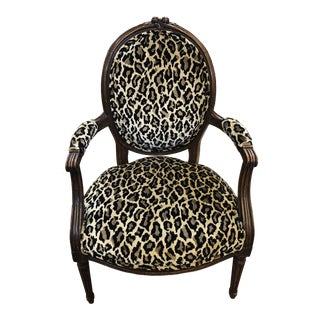Antique French Statement Chair in Leopard Print For Sale