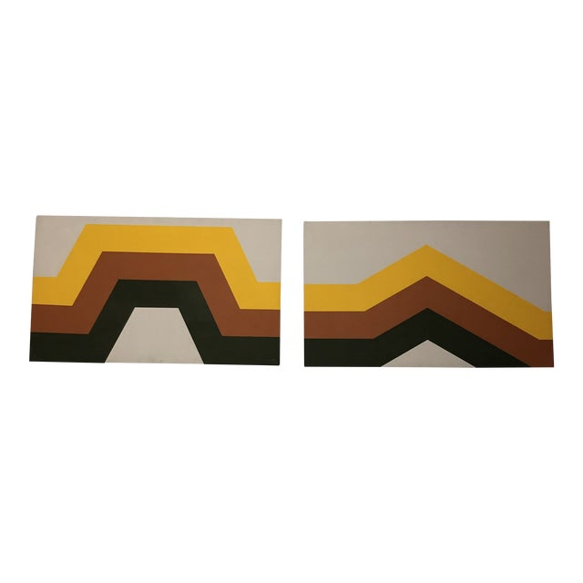 1970s Tri Stripe Original Paintings by Artifax - A Pair For Sale