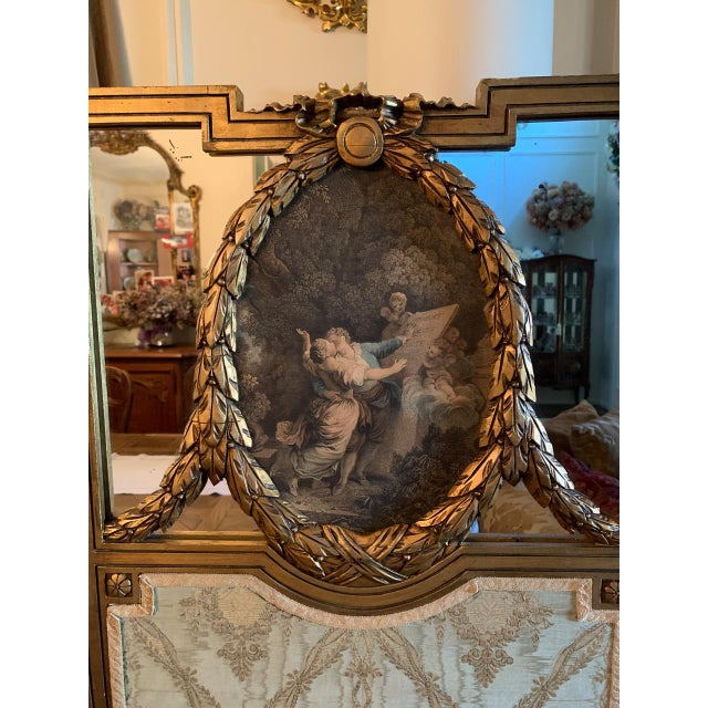 French French Giltwood Mirrored and Silk Brocade3-Panel Folding Screen For Sale - Image 3 of 7