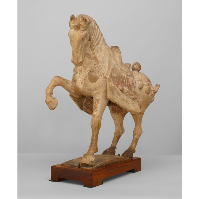 15th Century & Earlier Asian Chinese Tang Dynasty Unglazed Clay Prancing Horse For Sale - Image 5 of 9