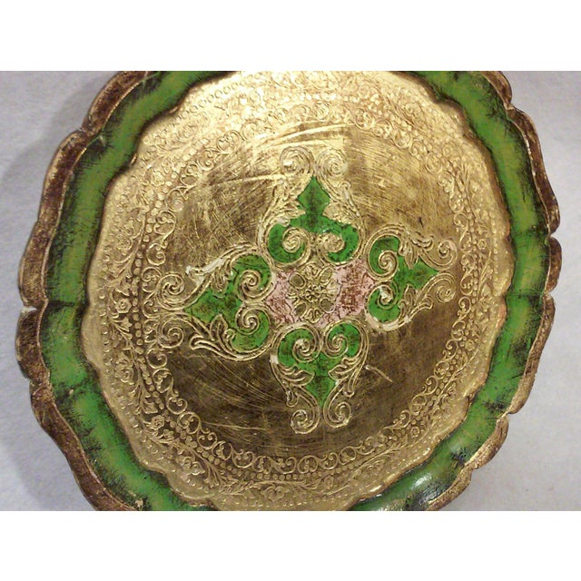 Hollywood Regency Florentine Green and Gold Leaf Decorative Tray For Sale - Image 3 of 5