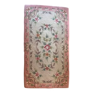 Early 20th Century Antique Floral Hooked Rug - 3′6″ × 1′11″ For Sale