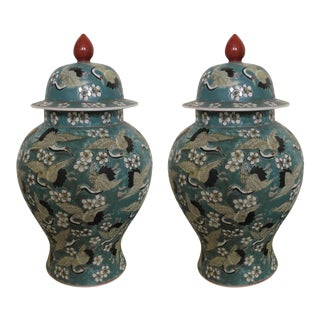 Beautiful Turquoise Chinese Hand Painted Crane Ginger Jars - a Pair