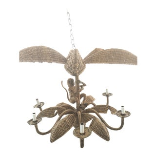 Mario Lopez Torres Wicker and Rattan Monkey Palm Tree 6 Light Chandelier For Sale