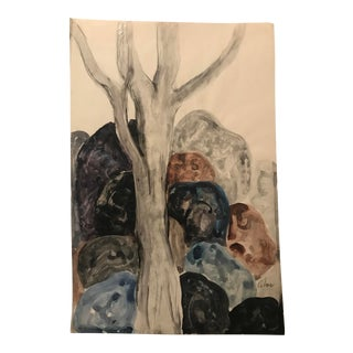 """Mid-Century Modern """"Rocky Landscape With Tree"""" Painting For Sale"""