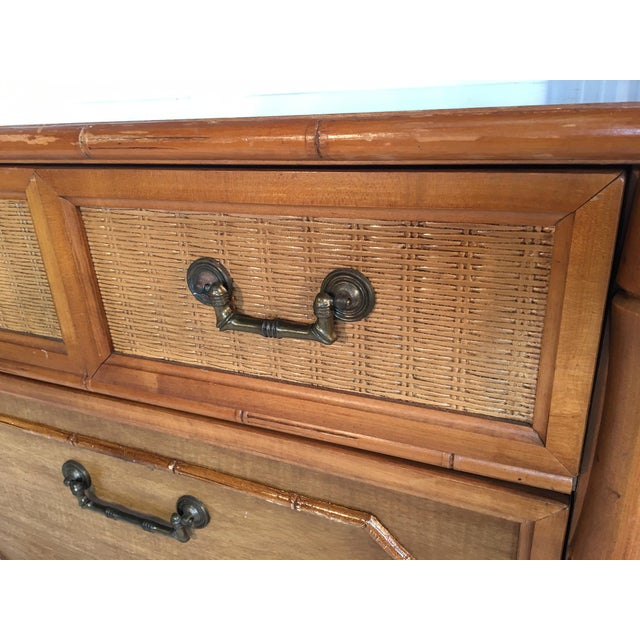 Caned Rattan and Faux Bamboo 7-Drawer Dresser by Broyhill For Sale - Image 5 of 8