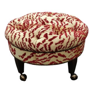 Modern Round Red & White Upholstered Pouf Ottoman on Castor Wheels For Sale
