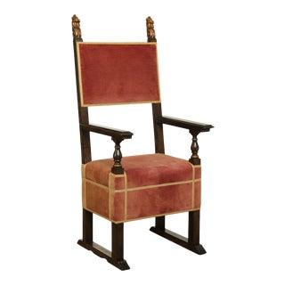 Italian Renaissance Revival Custom Quality Armchair For Sale
