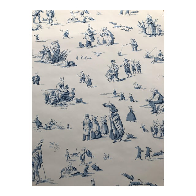 "Brunschwig & Fils Wallpaper ""Bunny Business"" Roles - Two Triple Rolls For Sale"