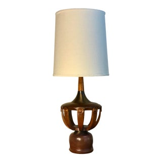 Mid Century Modern Sculptural and Teak Lamp Designed by Modeline Circa 1970's For Sale