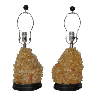 Pair of First-Class Rock Crystal Table Lamps For Sale