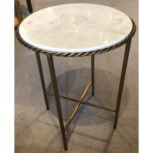 Antique Marble Top & Brass End Table For Sale In San Francisco - Image 6 of 8