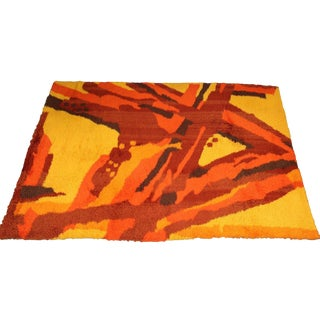 1970s Mid Century Modern Large Orange Yellow Red Rya Area Rug For Sale