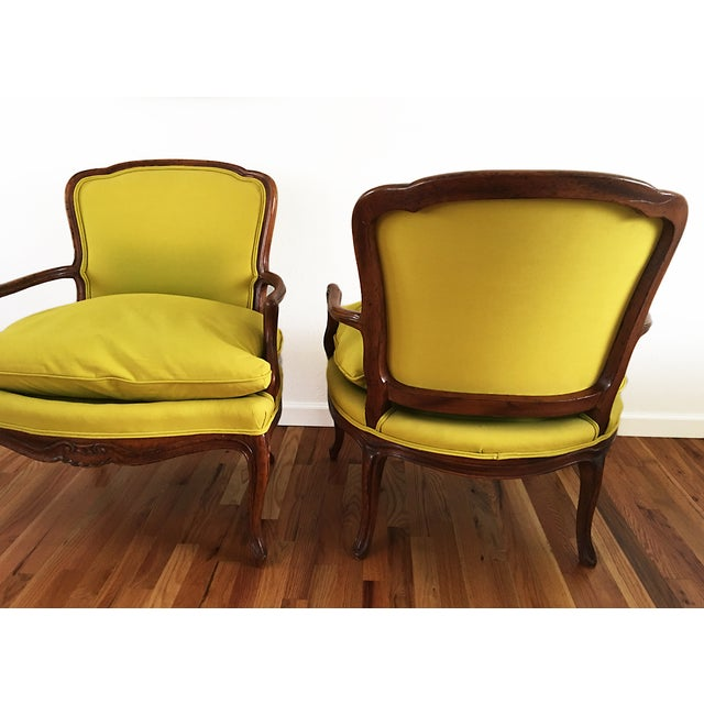 Vintage French Bergere Down Stuffed Chairs - Pair - Image 6 of 9