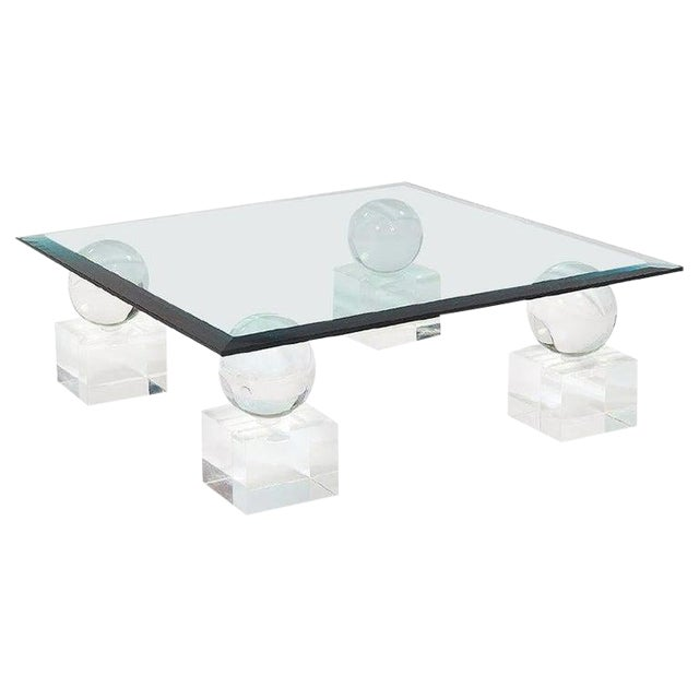 Mid-Century Modern Lucite Glass Coffee Table by Karl Springer Comatec, France 1970s For Sale