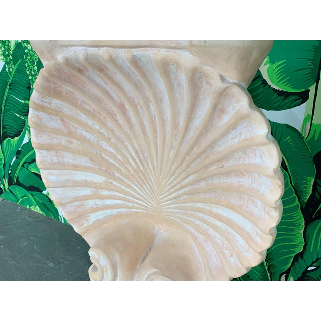 1960s Hollywood Regency Shell Form Console Table After Edward Wormley For Sale - Image 5 of 8