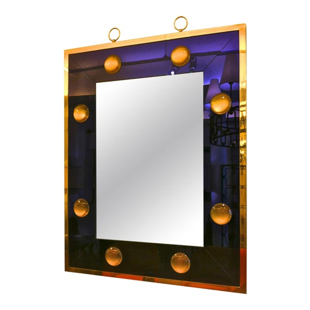 Andre Hayat Rectangular Mercury Blue Mirror With Gold Bronze Frame For Sale