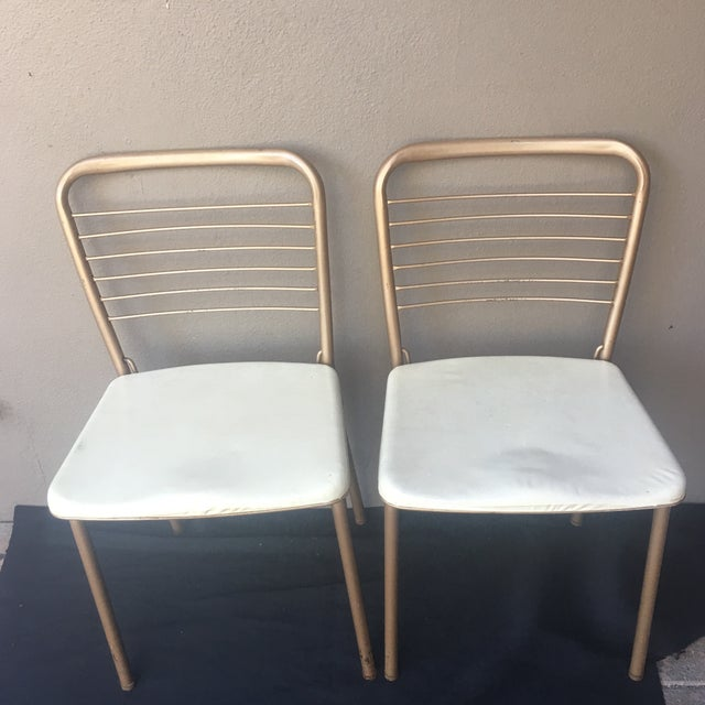 retro cosco 1950 s cream and copper kitchen chairs a pair chairish