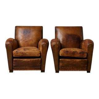 Pair of Large Distressed French Leather Fauteuils / Club Chairs, Ca 1930s For Sale