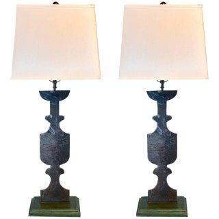 Trompe l'Oeil Cut Steel Urn Lamps - a Pair