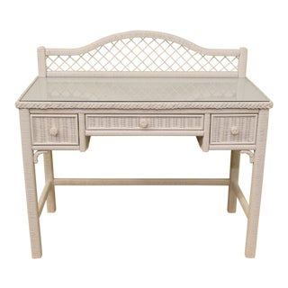 20th Century Traditional Henry Link White Wicker Vanity/Desk For Sale