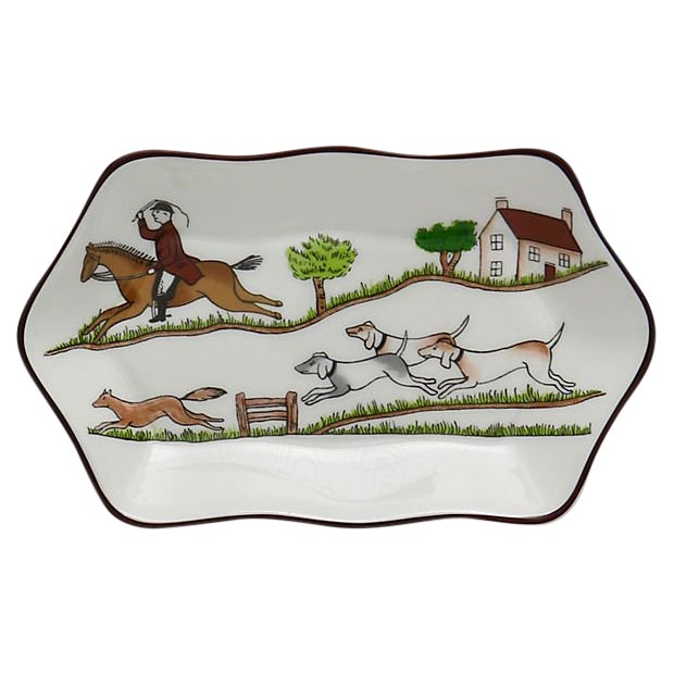 Coalport English Hunting Scene Pickle / Nut Dish For Sale