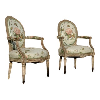 Late 18th Century Louis XVI Period Armchairs-a Pair For Sale