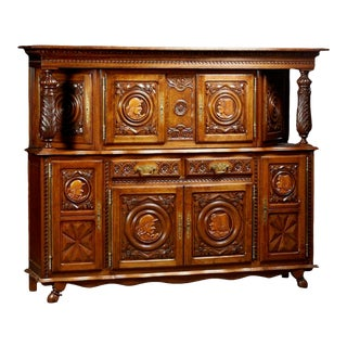 1900s Antique Breton French Provincial Carved Oak Sideboard For Sale