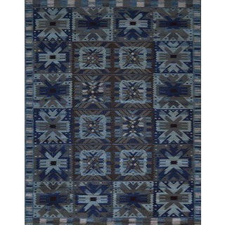 Swedish Kilim Inspired Hand-Woven Wool Rug For Sale