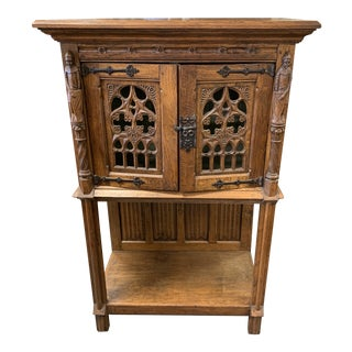 19th Century French Carved Oak Gothic Sacristy Vestry Altar Wine Cabinet For Sale