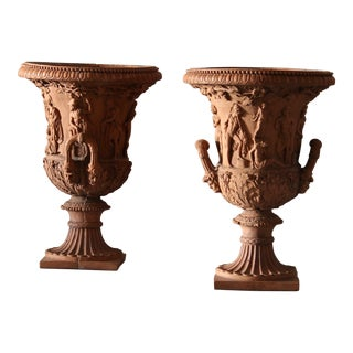 Twin Handled Terracotta Urns For Sale