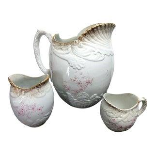 Antique C 1882 Potters Cooperative Co Pitcher, Toothbrush Vase, Shaving Mug - Set of 3 For Sale