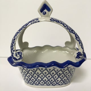 Vintage Bombay Company Blue and White Ceramic Scalloped Basket/Catchall Preview