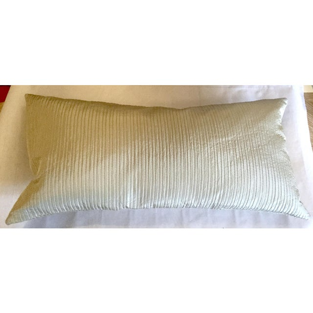 Contemporary Celadon Wide Lumbar Pillow For Sale - Image 3 of 3
