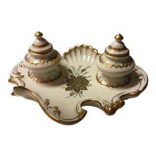 19th Century French Porcelain Inkwell For Sale