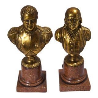Vintage Benjamin Franklin & Lafayette Resin Bookends - a Pair For Sale