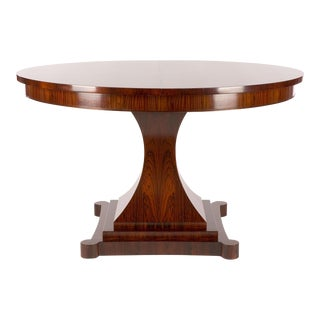 Biedermeier Helios Figured Matched Macassar Ebony Extension Table For Sale